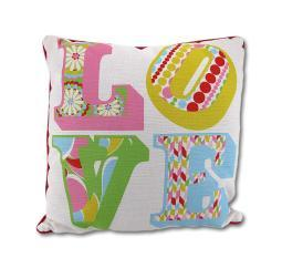 Colorful Reversible Love and Polka Dot Decorative Throw Pillow