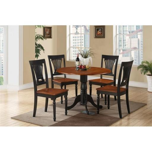 East West Furniture DLPL3-BCH-W 3 Piece Small Kitchen Table and Chairsset-Round Table and 2 Dinette Chairs