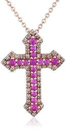 Sterling Silver with Pink Gold Plating Created Ruby and Diamond (1/5cttw, I-J Color, I3 Clarity) Cross Pendant Necklace,