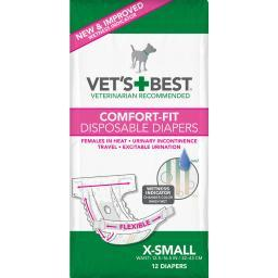 Vet'S Best 3165810445 White Vet'S Best Comfort-Fit Disposable Female Dog Diaper 12 Pack Extra Small White 7.5 X 3.44