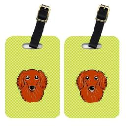 Carolines Treasures BB1276BT Pair Of Checkerboard Lime Green Longhair Red Dachshund Luggage Tags