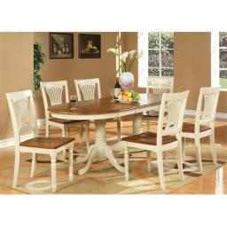 East West Furniture PLAI9-WHI-W 9-Piece Plainville Table with Double Pedestal & 8 Wood Seat Chairs