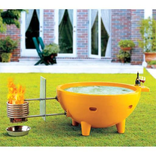 FireHotTub Round Fire Burning Portable Outdoor Olive Green Fiberglass Soaking Hot Tub