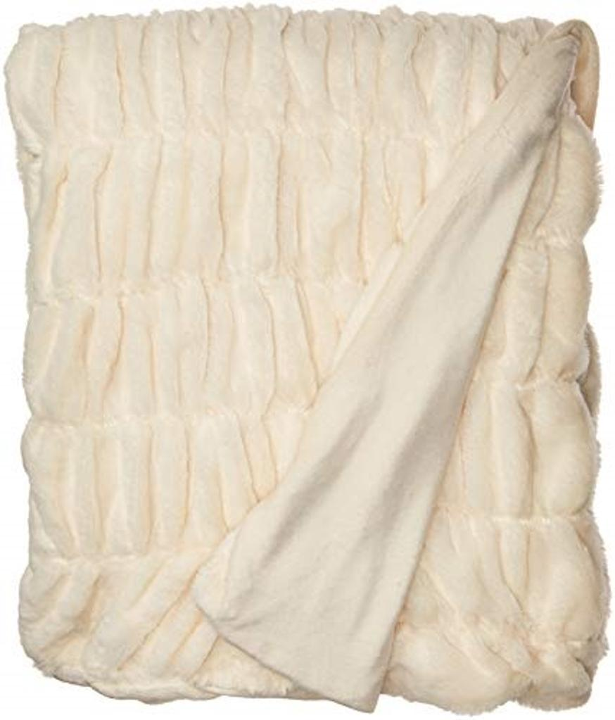 """Chic Home Miera Throw Blanket Cozy Super Soft Ultra Plush Decorative Shaggy Faux Fur with Micromink Backing 50"""" x 60"""", 50"""" x 60"""", Beige"""
