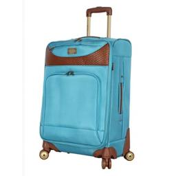 Caribbean Joe Designer Luggage Collection - Expandable 24 Inch Softside Bag - Durable Mid-sized Lightweight Checked Suitcase with 4-Rolling Spinner Wheels (Light Blue)