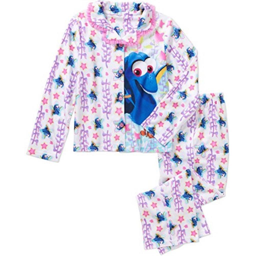 Disney Dory Girls 2 Piece Button Down Flannel Pajama Set (X-Small 4/5)