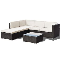 4 pcs Patio Rattan Cushioned Furniture Set