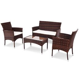 4 Pcs PE Rattan Wicker Table Shelf Sofa Furniture Set with Cushion