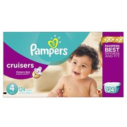 Pampers Cruisers Disposable Diapers Size 4, 124 Count, ECONOMY