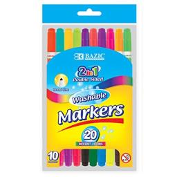 BAZIC 10 Color Double-Tip Washable Markers (1234-12)