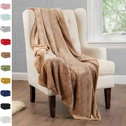 """ShopBedding Beige Throw Blanket Fleece Lightweight Throw Blanket for Couch or Sofa - Solid Flannel Blanket for Travel -Taupe, 50"""" x 60"""" Soft Blanket by Blissford"""