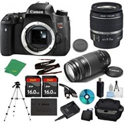 Canon EOS Rebel T6s Camera with 18-55mm IS STM Lens + 75-300mm III Zoom + 2pcs 16GB Memory + Camera Case + Card Reader + Professional Tripod + 6pc Starter Set - International Version