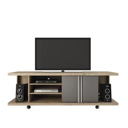"Manhattan Comfort Carnegie Collection Flat Screen TV Stand with Storage Compartments, 71"" L x 17.1"" D x 23.6"" H, Nature/Onyx"