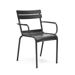 Chatou Black Stackable Metal Arm Chair (Set of 4)