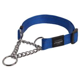 ROGZ Reflective Nylon Choke Collar; Slip Show Obedience Training Gentle Choker for Extra Large Dogs, Blue