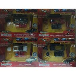 Ertl American Muscle Body Shop Value 4 Pack 1/64 Scale Diecast Activity Set; 1963 Corvette Stingray, 1998 Corvette Convertible, 1953 Corvette, 1997 Corvette Coupe