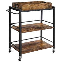 Tray Top Wooden Kitchen Cart with 2 Shelves and Casters, Brown and Black