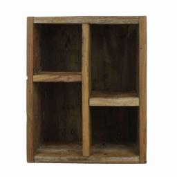 Rectangular Wooden Crate with 4 Open Compartments, Natural Brown