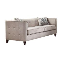 Vintage Style Fabric and Wood Sofa with 2 Pillows, Gray