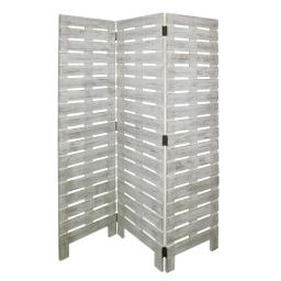 Textured 3 Panel Foldable Wooden Screen with Slats, Gray