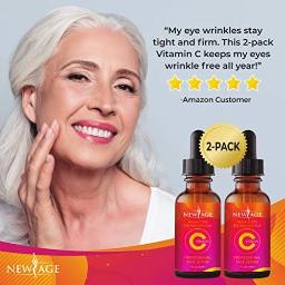 (2-PACK) Vitamin C Serum with Hyaluronic Acid for Face and Eyes - Natural Anti Aging Eye Serum - Facial Serum Fades Age Spots and Sun Damage - By New Age