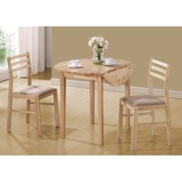 """Offex OFX-284070-MO Natural 3 Piece Dining Set with a 36""""Dia Drop Leaf Table"""