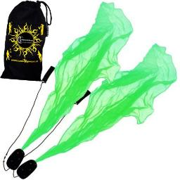 Angel Poi Spiral Poi- Practice Poi (Green) by Flames N Games + Travel Bag!