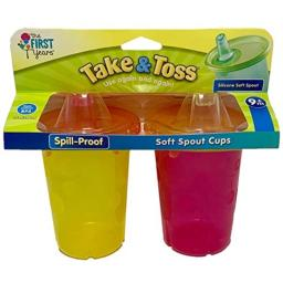 The First Years Take & Toss Spill-Proof Soft Spout Cups 10 Ounce 2pk