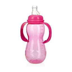 Nuby New 3 Stage Ultra Durable Tritan Grow with Me No-Spill Bottle to Cup, 10 Oz, Pink