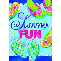 """Summer Fun "" - Summer Flip Flops - STANDARD Size, 28 Inch X 40 Inch, Decorative Double Sided Flag - Exclusively Made in the USA - Copyrights and Licensed by Custom Decor Inc."