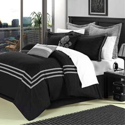 Chic Home Cosmo 8 Piece Comforter Set Embroidered Hotel Collection with Pillow Shams, Queen Black