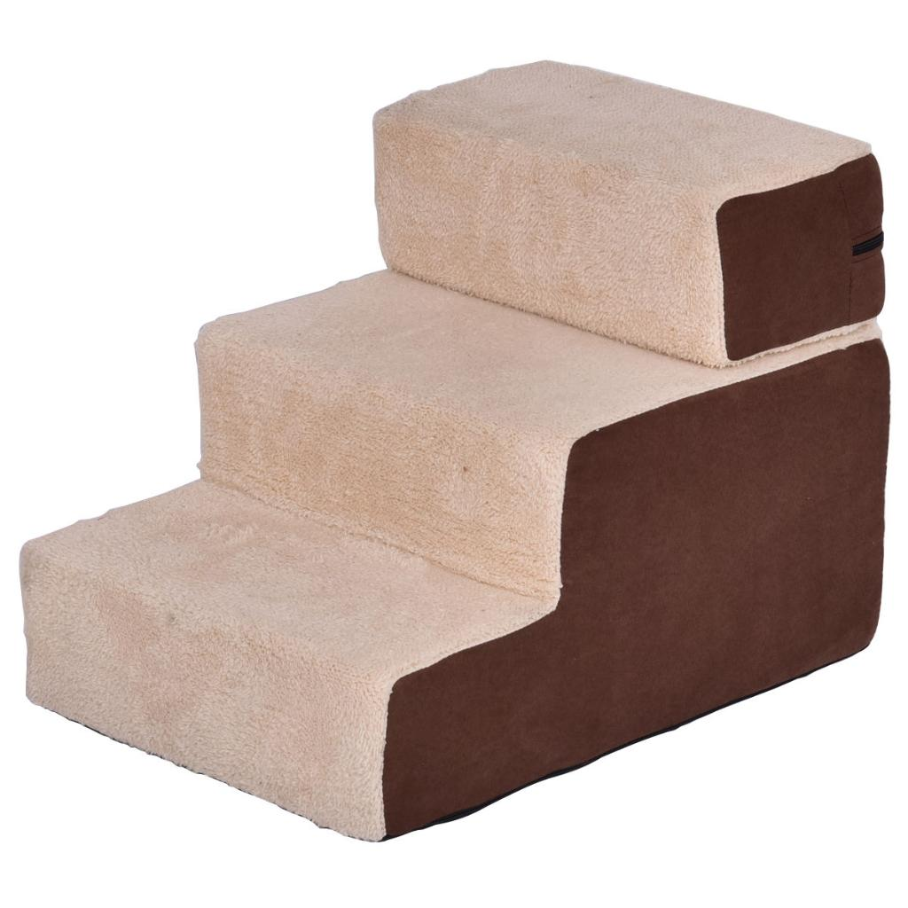 Portable 3 Step Pet Stairs Soft Step For Dog & Cat Cotton Brown