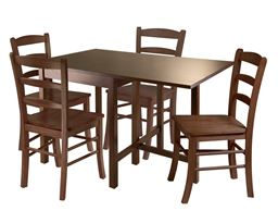 Winsome Lynden 5 Piece Dining Table with 4 Ladder Back Chairs - Antique Walnut