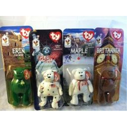 Erin, Britannia, Glory, and Maple Ty Beanie Babies Bear