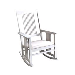 Gift Mark Mission style Adult Rocking chair with Upholstered Seat - White