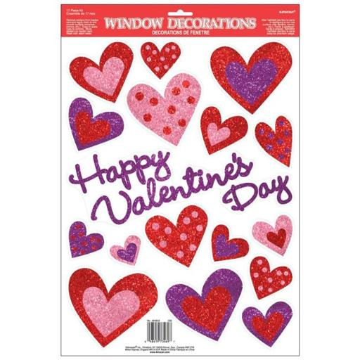 Amscan 440804 Valentines Day Vinyl Window Decoration - Pack of 5