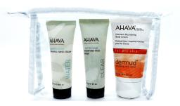 AHAVA Set: Deadsea Water Mineral Hand Cream .68 Fl Oz., Time To Clear Purifying Mud Mask .9 Oz., Int