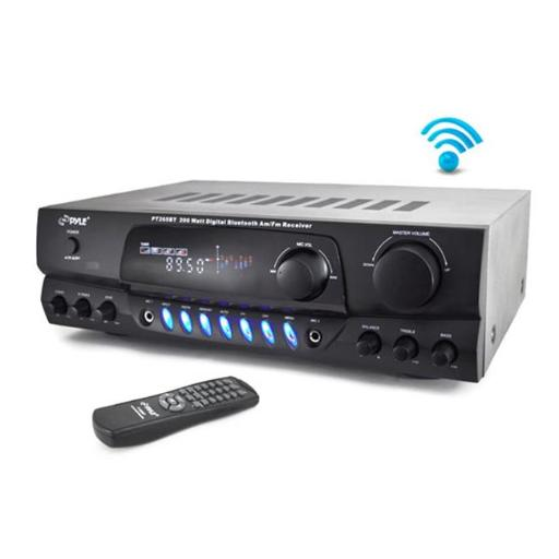 Pyle PT265BT 200 Watt Bluetooth Digital Receiver Amplifier with AM-FM Radio & Two Microphone Inputs for Karaoke Mixing