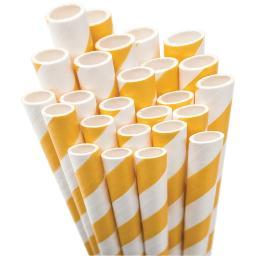 "Paper Drinking Straws 7.75"" 50/Pkg-Bright Yellow & White Striped"