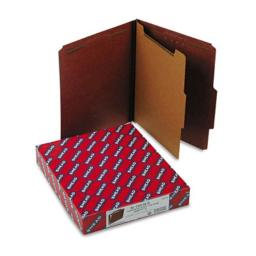 Smead 13775 Pressboard Classification Folders with Self Tab  Ltr  4-Section  Red  10/box