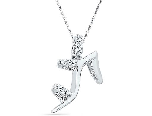1/20 Carat (ctw Clarity I2-I3) Diamond Stiletto Shoe Charm Pendant Necklace in 10K White Gold with Chain