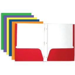 Bazic 2-Pocket Portfolio Folder With 3-Prong Fastener For School, Home, Or Office (Assorted Colors. Case Of 100)