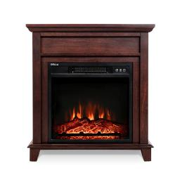 """DELLA 18"""" Freestanding Wood Finish Electric Mantel Fireplace Heater with Remote Control"""