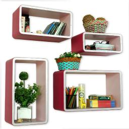 Lucky Combination Rectangle Leather Wall Shelf / Floating Shelf (Set of 4)