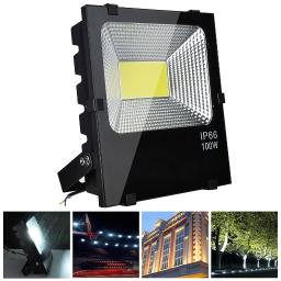 DELight 100W LED Flood Light 10150LM Outdoor Security Work Spotlight Cool White 6500K IP66 640W Halogen Bulb Equivalent