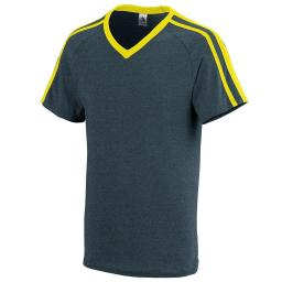 Augusta Sportswear Boys' Get Rowdy Shoulder Stripe Tee L Slate Heather/Power ... 364.V43.L