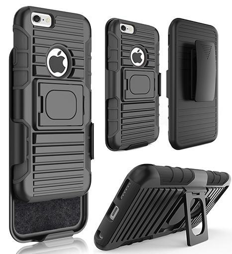 BLACK GRIP RING CASE COVER + BELT CLIP HOLSTER STAND FOR iPHONE 6/6s PLUS (5.5