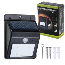 Yescom 1x Bright Solar Power Outdoor 4 LEDs Light No Tools Required PIR Motion & Night Sensor Activated Lamp