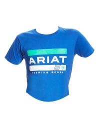 Ariat Western Shirt Boys S/S Bar Stripe Logo Tee Royal 10022932