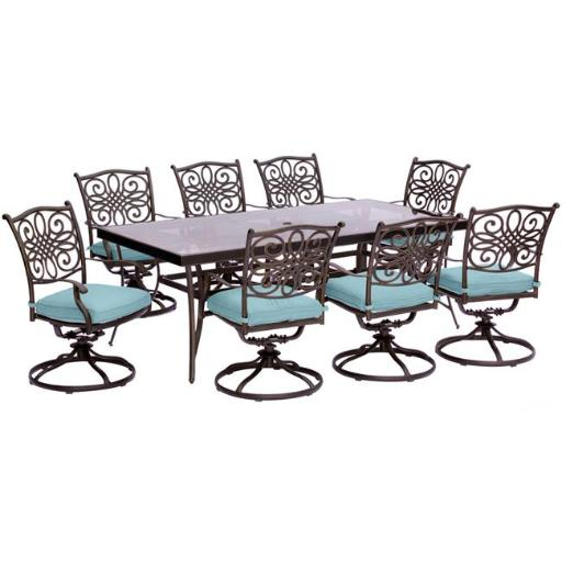 Hanover TRADDN9PCSWG-BLU Traditions Dining Set with Swivel Chairs & Glass Table - 9 Piece, Blue